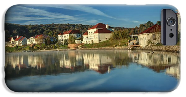 White House iPhone Cases - Lake White morning iPhone Case by Jaki Miller