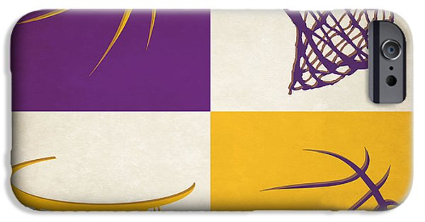 Lakers iPhone Cases - Lakers Ball And Hoop iPhone Case by Joe Hamilton