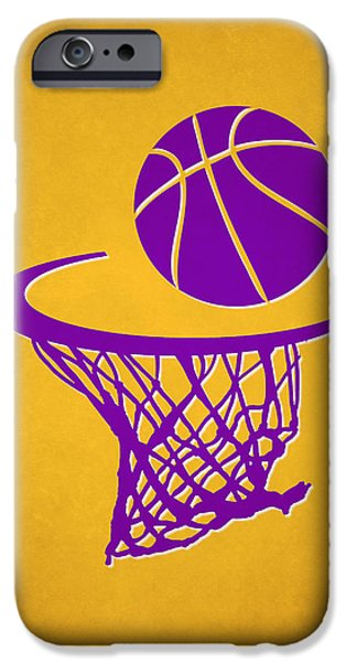 Dunk iPhone Cases - Lakers Team Hoop2 iPhone Case by Joe Hamilton