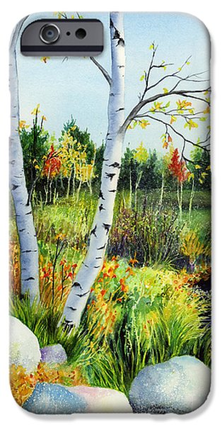 Birch iPhone Cases - Lakeside Birches iPhone Case by Hailey E Herrera