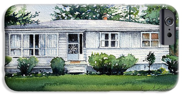 Garden Scene Paintings iPhone Cases - Lakeside Cottage iPhone Case by Hanne Lore Koehler
