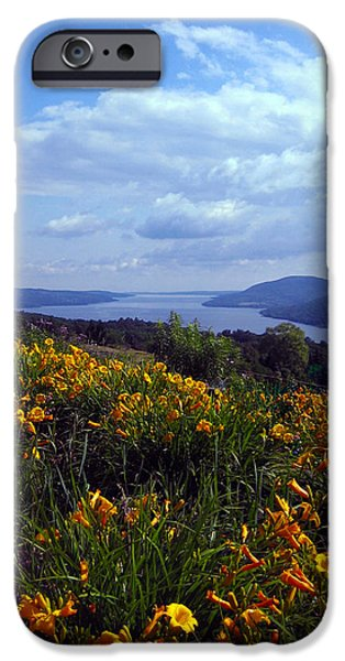 Canandaigua Lake iPhone Cases - Lakeside Lilies iPhone Case by Mary Cloninger