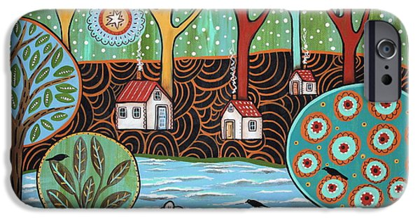 Patterned Paintings iPhone Cases - Lakeside1 iPhone Case by Karla Gerard