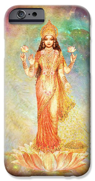 Hindu Goddess Mixed Media iPhone Cases - Lakshmi floating in a Galaxy iPhone Case by Ananda Vdovic