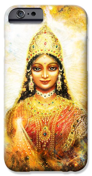 Hindu Goddess iPhone Cases - Lakshmi Goddess of Abundance in a Galaxy iPhone Case by Ananda Vdovic