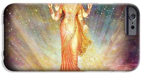 Hindu Goddess iPhone Cases - Lakshmi Goddess of Abundance rising from a galaxy iPhone Case by Ananda Vdovic