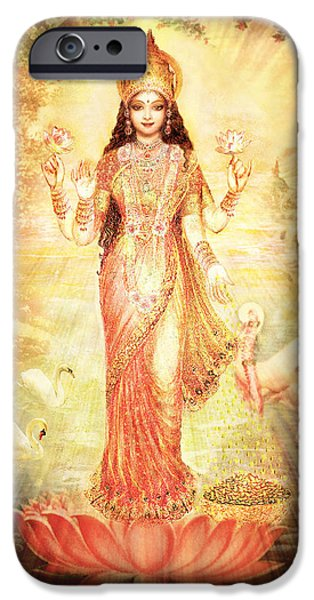 Hindu Goddess iPhone Cases - Lakshmi Goddess of Fortune vintage iPhone Case by Ananda Vdovic