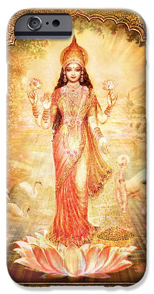 Hindu Goddess Mixed Media iPhone Cases - Lakshmi Goddess of Fortune with lighter frame iPhone Case by Ananda Vdovic