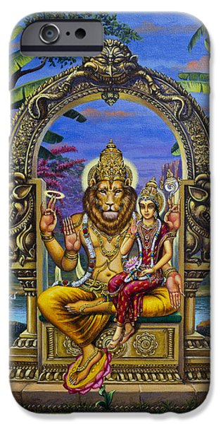 Chakra Paintings iPhone Cases - Lakshmi Narasimha iPhone Case by Vrindavan Das