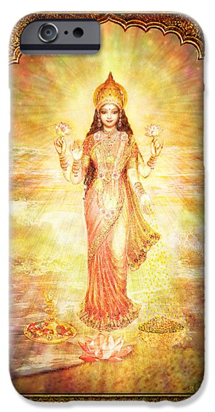 Hindu Goddess iPhone Cases - Lakshmi the Goddess of Fortune and Abundance iPhone Case by Ananda Vdovic