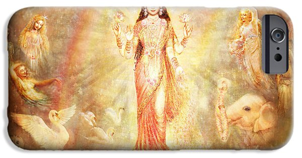 Hindu Goddess Mixed Media iPhone Cases - Lakshmi with Angels and Muses iPhone Case by Ananda Vdovic