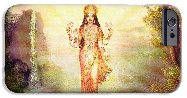 Hindu Goddess iPhone Cases - Lakshmi with the Waterfall iPhone Case by Ananda Vdovic