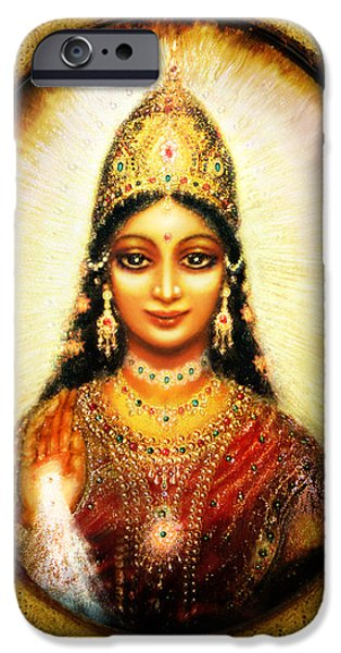 Hindu Goddess iPhone Cases - Lakshmis Blessing iPhone Case by Ananda Vdovic