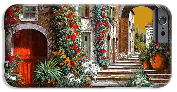 Red Door iPhone Cases - Laltra Porta Rossa Al Tramonto iPhone Case by Guido Borelli