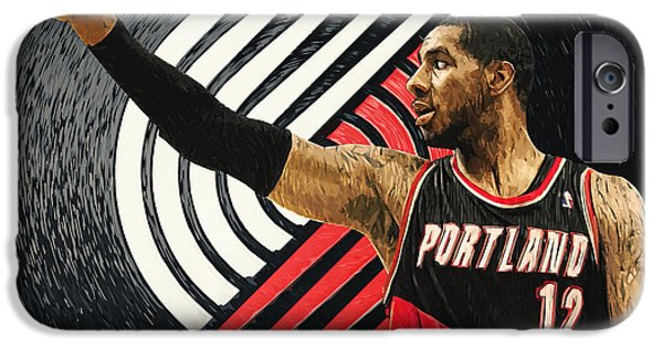 American Basketball Player iPhone Cases - LaMarcus Aldridge iPhone Case by Taylan Soyturk