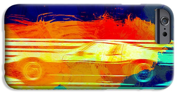 Vintage Car iPhone Cases - Lamborghini Miura Side 1 iPhone Case by Naxart Studio