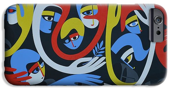 Figures iPhone Cases - Lamentation And Resolution, 1983 Acrylic On Board iPhone Case by Ron Waddams