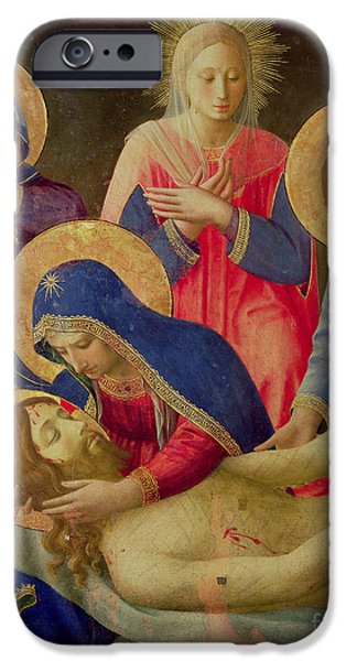 Renaissance Paintings iPhone Cases - Lamentation over the Dead Christ iPhone Case by Fra Angelico