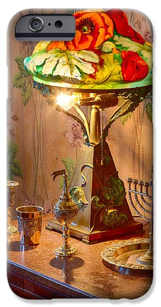 Pioneer Homes iPhone Cases - Lamp and Menorah iPhone Case by Inge Johnsson