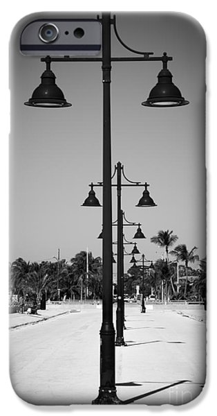 Candid Photographs iPhone Cases - Lamp Posts White Street Pier Key West - Black and White iPhone Case by Ian Monk