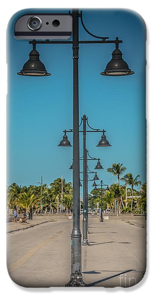 Candid Photographs iPhone Cases - Lamp Posts White Street Pier Key West - HDR Style iPhone Case by Ian Monk