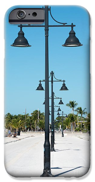 Candid Photographs iPhone Cases - Lamp Posts White Street Pier Key West iPhone Case by Ian Monk