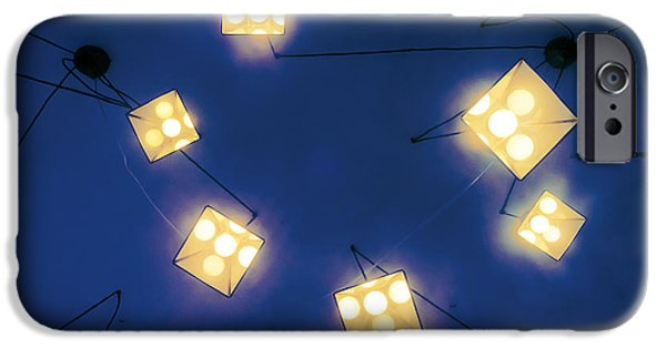Night Lamp iPhone Cases - Lamps Hanging From Ceiling iPhone Case by Mikel Martinez de Osaba