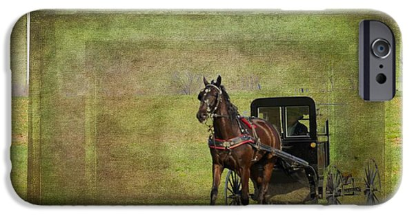Horse And Buggy Digital iPhone Cases - Lancaster Buggy iPhone Case by Alice Gipson