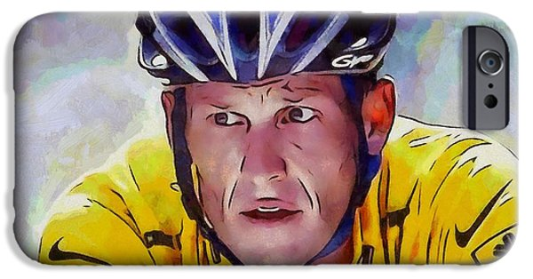 Nike iPhone Cases - Lance Armstrong iPhone Case by Dan Sproul