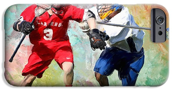 Scott Melby iPhone Cases - Lancers Lacrosse iPhone Case by Scott Melby
