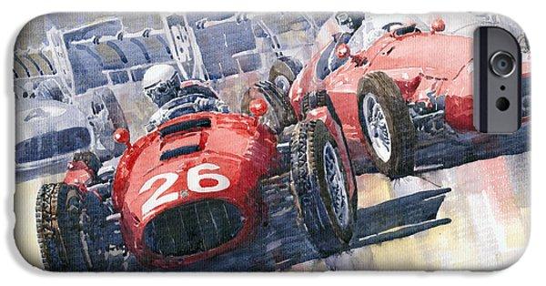 Racecar Paintings iPhone Cases - Lancia D50 Alberto Ascari Monaco 1955 iPhone Case by Yuriy  Shevchuk