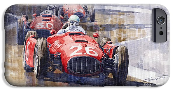 Classic F1 iPhone Cases - Lancia D50 Monaco GP 1955 iPhone Case by Yuriy  Shevchuk