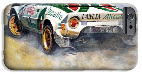 Racing iPhone Cases - Lancia Stratos 1976 Rallye Sanremo iPhone Case by Yuriy Shevchuk