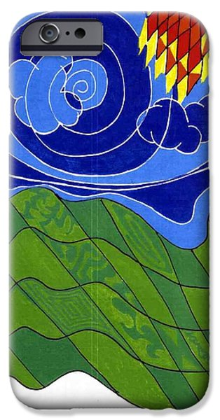 Arial View Paintings iPhone Cases - Land 2 iPhone Case by Howard Yosha