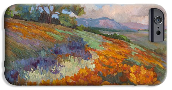 California Poppies iPhone Cases - Land of Sunshine iPhone Case by Diane McClary