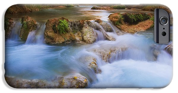 Peter James Nature Photography iPhone Cases - Land of the Blue Green Water iPhone Case by Peter Coskun