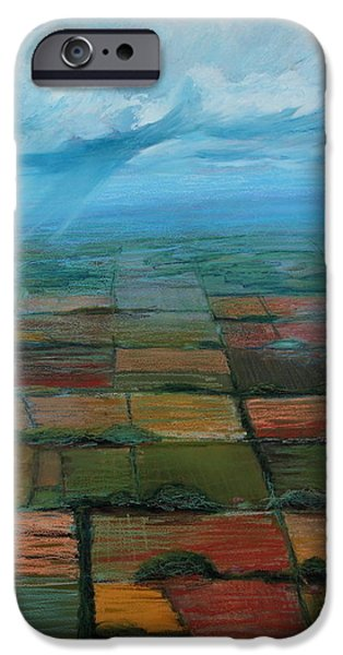 Arial View Paintings iPhone Cases - Land Use iPhone Case by Art Nomad Sandra  Hansen