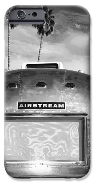 Trailers iPhone Cases - LAND YACHT BW Palm Springs iPhone Case by William Dey