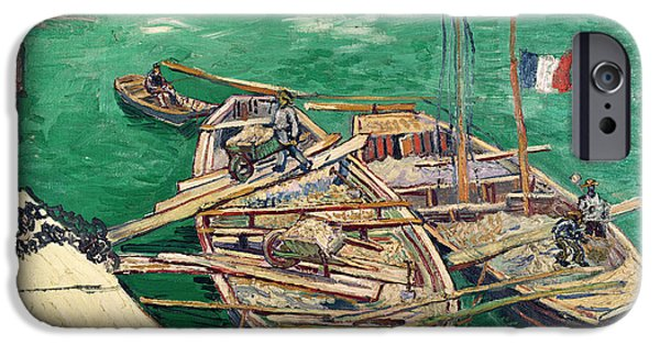 Labour iPhone Cases - Landing Stage With Boats, 1888 Oil On Canvas iPhone Case by Vincent van Gogh