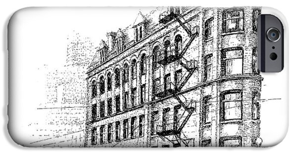 City Scape Drawings iPhone Cases - Landmark and Icons iPhone Case by Steve Knapp