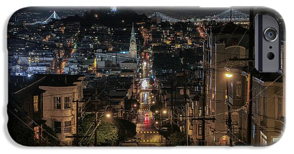 Recently Sold -  - Bay Bridge iPhone Cases - Landmarks at Night iPhone Case by Louis  Raphael