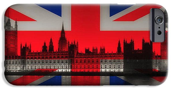 Concept Art iPhone Cases - Landmarks of London iPhone Case by Mountain Dreams