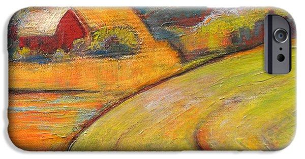 Rural iPhone Cases - Landscape Art Orange Sky Farm iPhone Case by Blenda Studio