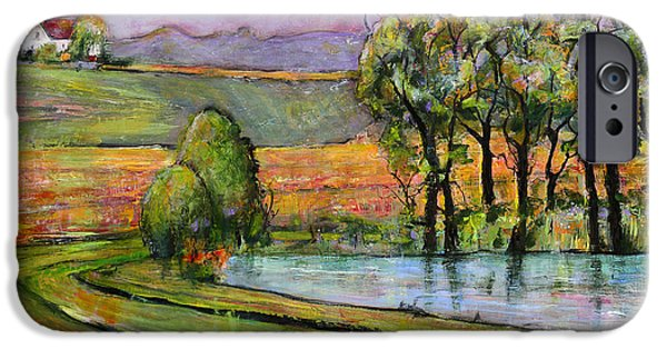 House iPhone Cases - Landscape Art Scenic Fields iPhone Case by Blenda Studio