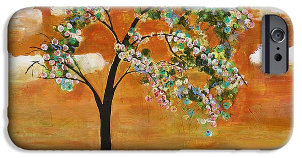 Tangerines Paintings iPhone Cases - Landscape Art Scenic Tree Tangerine Sky iPhone Case by Blenda Studio