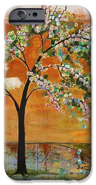Landscape Art Scenic Tree Tangerine Sky iPhone Case by Blenda Studio