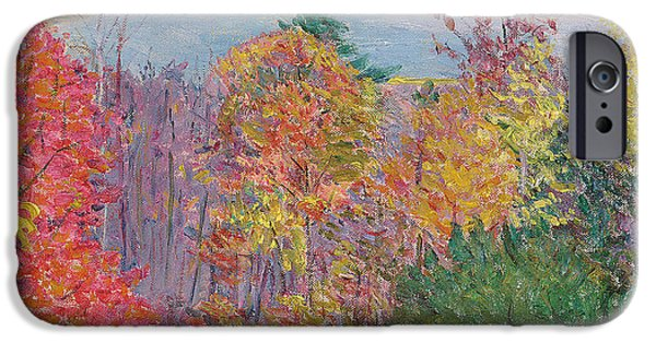 Turning Leaves iPhone Cases - Landscape at Hancock in New Hampshire iPhone Case by Lilla Cabot Perry