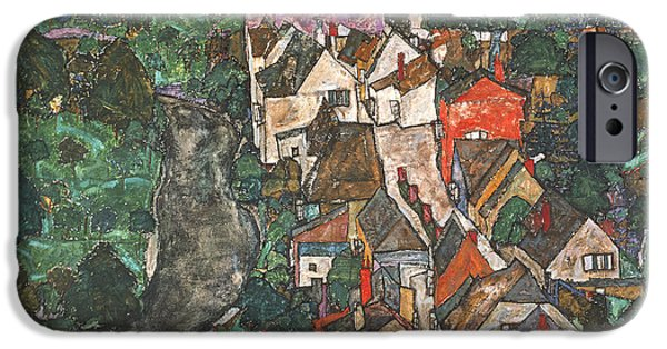 House iPhone Cases - Landscape At Krumau, 1910-16 iPhone Case by Egon Schiele