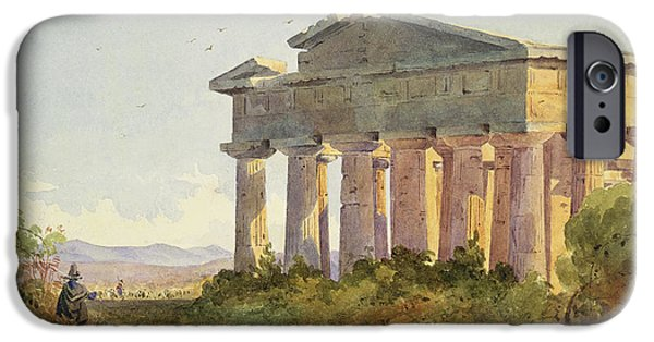 Temple Paintings iPhone Cases - Landscape at Paestum iPhone Case by Arthur Glennie