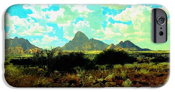 Abstract Digital Paintings iPhone Cases - Landscape For Peter and Jane Crawford H b iPhone Case by Gert J Rheeders